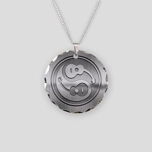 Guitar Yang Metal Necklace Circle Charm
