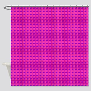 Pink Purple Freehand Grid Shower Curtain