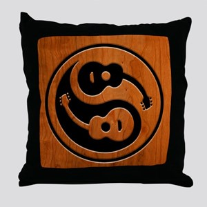 Wood Guitar Yang Throw Pillow