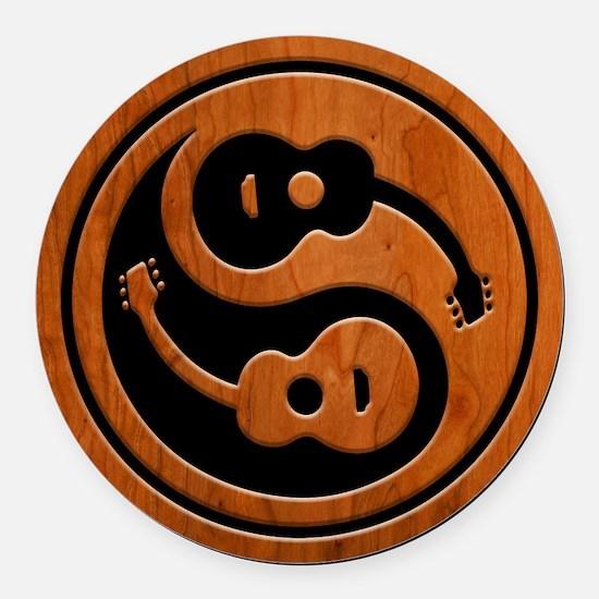 Wood Guitar Yang Round Car Magnet