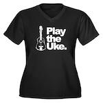 Play Uke Women's Plus Size V-Neck Dark T-Shirt