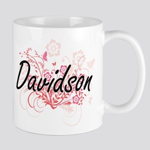 Davidson surname artistic design with Flowers Mugs