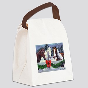 Christmas Horses Canvas Lunch Bag