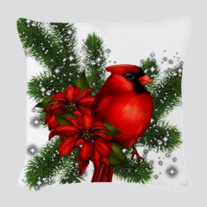 CARDINAL/PINE Woven Throw Pillow