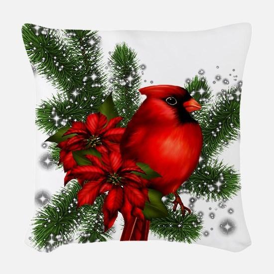 CARDINAL/PINE Woven Throw Pillow