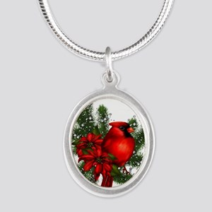 CARDINAL/PINE Silver Oval Necklace