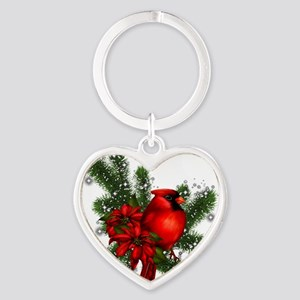 CARDINAL/PINE Heart Keychain