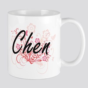 Chen surname artistic design with Flowers Mugs