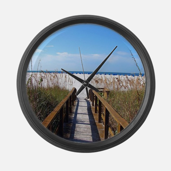 Walk on the Beach Large Wall Clock