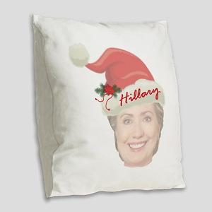 Hillary Clinton Holiday Burlap Throw Pillow