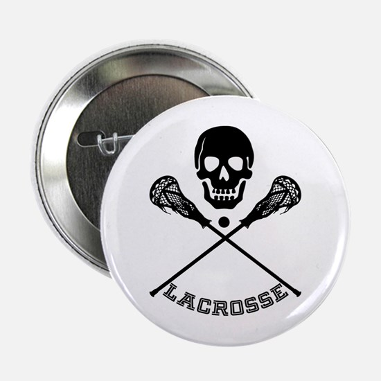 """Skull and Lacrosse Sticks 2.25"""" Button"""