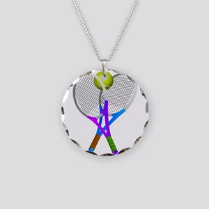 Tennis Rackets and Ball Necklace Circle Charm