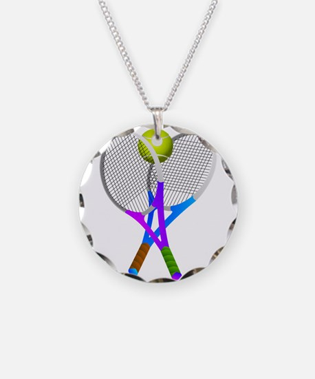 Tennis Rackets and Ball Necklace