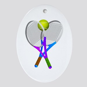 Tennis Rackets and Ball Oval Ornament
