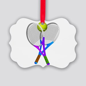 Tennis Rackets and Ball Picture Ornament
