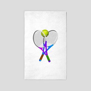 Tennis Rackets and Ball Area Rug