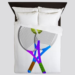 Tennis Rackets and Ball Queen Duvet