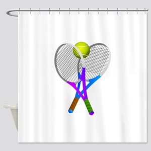 Tennis Rackets and Ball Shower Curtain