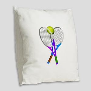 Tennis Rackets and Ball Burlap Throw Pillow