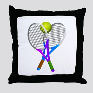Tennis Rackets and Ball Throw Pillow