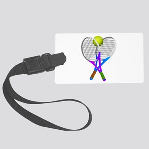 Tennis Rackets and Ball Large Luggage Tag