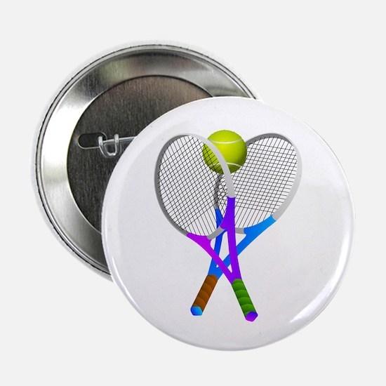 "Tennis Rackets and Ball 2.25"" Button"