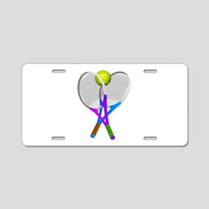 Tennis Rackets and Ball Aluminum License Plate