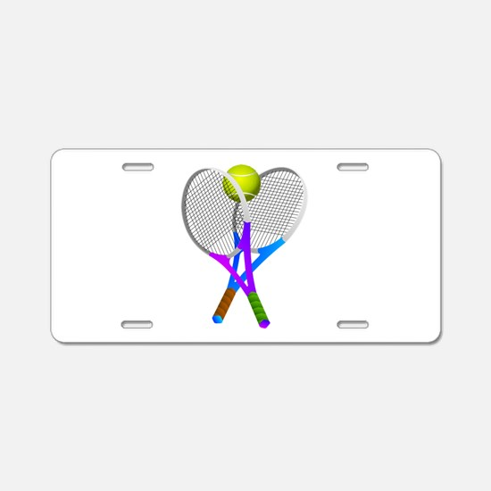 Tennis Rackets and Ball Aluminum License Plate