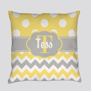 Yellow Gray Chevron Dots Personalized Everyday Pil