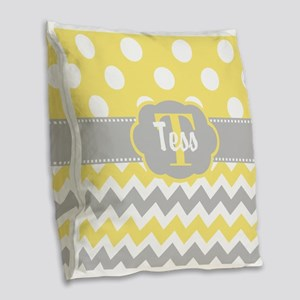 Yellow Gray Chevron Dots Personalized Burlap Throw