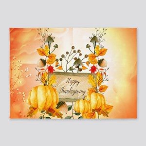 Happy thanksgiving with pumpkin 5'x7'Area Rug