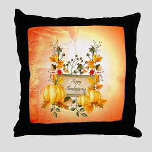 Happy thanksgiving with pumpkin Throw Pillow