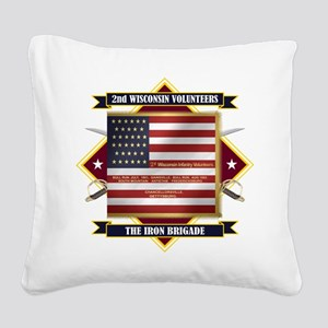 2nd Wisconsin Volunteers Square Canvas Pillow
