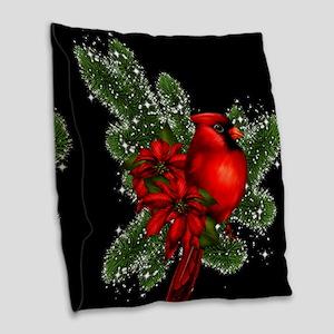 CARDINAL/PINE Burlap Throw Pillow