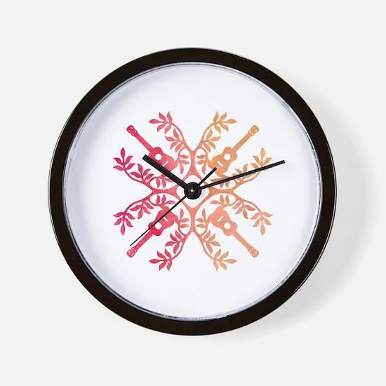 Cute Ukulele hawaiian Wall Clock
