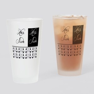 her,his, cat Drinking Glass