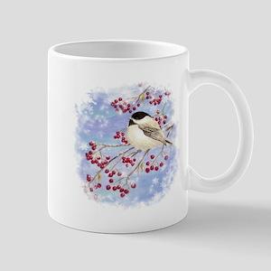 Watercolor Chickadee Bird in tree with berries Mug