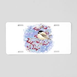Watercolor Chickadee Bird in tree with berries Alu