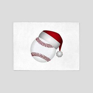Christmas Baseball 5'x7'Area Rug