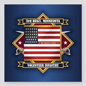 "3rd Minnesota Infantry Square Car Magnet 3"" x 3"""