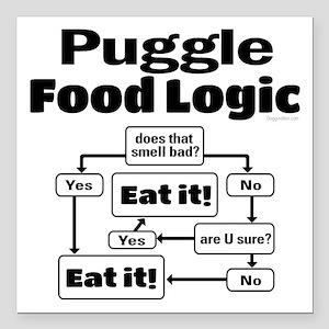 "Puggle Food Square Car Magnet 3"" x 3"""