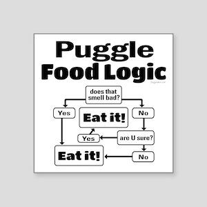 "Puggle Food Square Sticker 3"" x 3"""