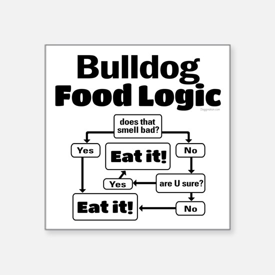 "Bulldog Food Square Sticker 3"" x 3"""