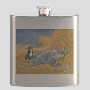 Dog in Van Gogh noon rest painting Flask
