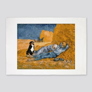 Dog in Van Gogh noon rest painting 5'x7'Area Rug