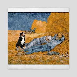 Dog in Van Gogh noon rest painting Queen Duvet