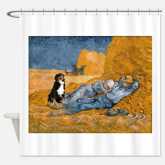 Dog in Van Gogh noon rest painting Shower Curtain