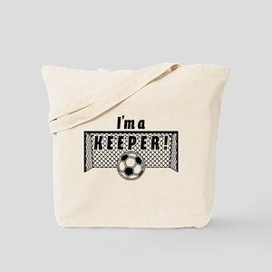 Im a Keeper soccer fancy black Tote Bag