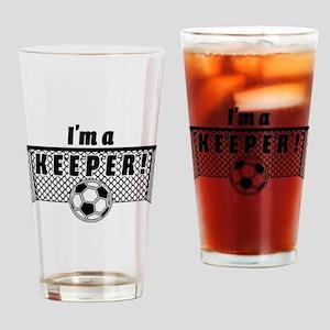 Im a Keeper soccer fancy black Drinking Glass