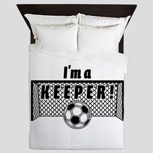 Im a Keeper soccer fancy black Queen Duvet